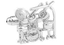 Drum Pair Cufflinks Silver Drummer Set Drums Wedding Gift Box & Polishing Cloth