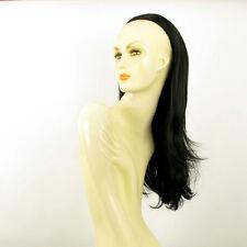 Demi-tête, demi-perruque 62cm noir ref 013 en 1b