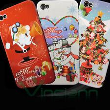 Pellicola + 3X Custodia cover MERRY CHRISTMAS per iPhone 4 4G XMAS TREE pupazzo