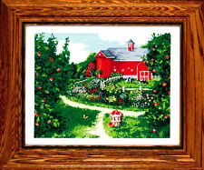SALE - SAVE 30%  THE RED BARN by DESIGN WORKS CRAFTS -  RED BARN CATTLE FLOWERS