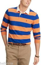 nwt~Izod HEAVY JERSEY RUGBY STRIPED LONG SLEEVE dress Polo Shirt top~Mens sz Lrg