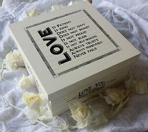 East of India Vintage Wedding Wooden Memory Box Keepsake Love Marriage Cream