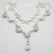 """925 Sterling Silver Natural RAINBOW MOONSTONE GORGEOUS Necklace 17.25"""" NEW"""