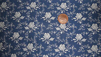 BLUE FABRIC WITH A PRETTY IVORY WHITE ROSE DESIGN 100% COTTON FABRIC FQ'S