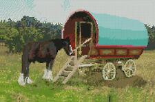 """Gypsy Caravan completa contati Punto Croce Kit 12""""x 8"""""""