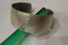 Vintage Southwest Warrior Canoes Symbols Silver Plated Cuff Bracelet