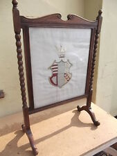 Oak,Fire screen,screen,fireplace,barley twist,embroided,crest,coat of arms,glaze
