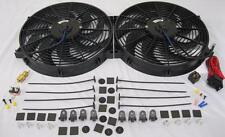 "Dual 14"" Universal Electric Radiator Cooling Fans w/ Thermostat & Mounting Kit"
