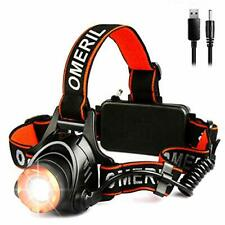 Lampe Frontale Torche Puissante USB Rechargeable LED CREE XML-T6 Camping Vacance