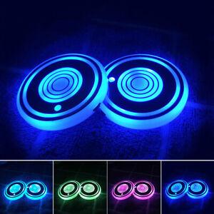 2PCS 7-Colors LED Car Cup Bottle Holder Mat Coaster Pad Atmosphere Lights Lamp