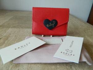 RADLEY I Love you Red Leather Credit Card Holder Purse + Dust Bag BNWT