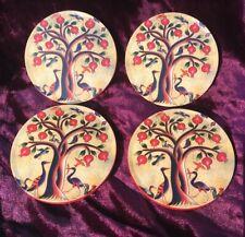 SET OF 4 POMEGRANATE TREE OF LIFE ROUND CORK COASTERS, UNIQUE GIFT IDEAS