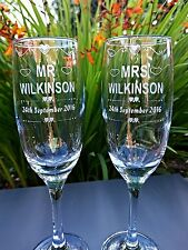 Pair Of Engraved Wedding Champagne Flutes - New - Personalised