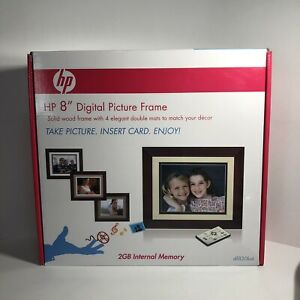 HP 8 inch Digital Picture Frame Solid Wood Frame with Double Mats DF820B4 Remote