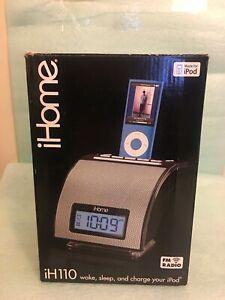 iHome IH110B iPod iPhone Sound Alarm Clock Dock Station Player - Black BrandNew