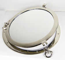 "Porthole Mirror Over Solid Brass 20"" Nickel Finish Wall Mount Nautical Home"