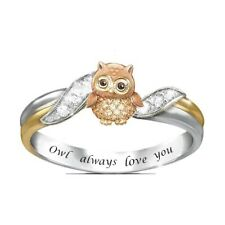 Ring Wedding Jewelry Rings Size 10 Fashion Silver Women Double Color Ring Owl