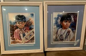 Two Native American Child Portrait Signed Framed 90's Barbara Elliot Numbered