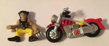 Marvel Super Hero Squad Wolverine Logan W Red Black Motorcycle Cycle Bike Lot