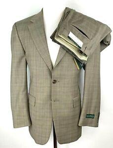 New Lauren Ralph Lauren Mens 40R 2 Button Suit W34/L36 Pleated Wool Olive Plaid