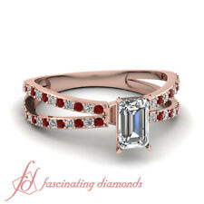 1.25 Carat Ruby And Diamond Split Shank Pave Set Ring With Emerald Cut In Center