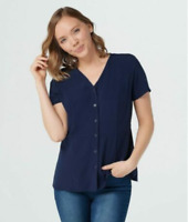 Denim & Co Navy Blue Button-Up Short Sleeve Flare Top - Navy - 1X