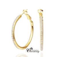 Gold Plated Sparkling Swarovski Element Crystals Stud Hoop Earrings