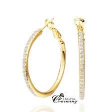 925 Sterling Silver 18k GP Sparkling Swarovski Crystals Stud Hoops/Earrings
