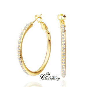 Gold Plated Sparkling Swarovski Element Crystals Stud Hoop Earrings