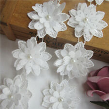 10pcs White Flower Pearl Lace Trim Wedding Ribbon Embroidered Applique Sewing