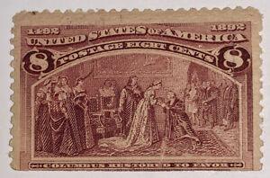 Travelstamps:1893 US Stamps Scott # 236 Restored to Favor 8 cents MNHOG, Mint