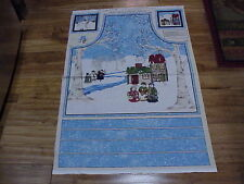 Cool Characters Winter Snowman Childrens cotton Apron Fabric Panel