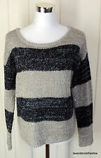 Ann Taylor Loft M 2 Shades Of Gray Striped Sparkle Sequin Slouch Sweater