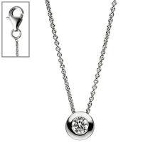 Collier Kette mit Anhänger rund 925 Sterling Silber 1 Zirkonia 42 cm Silberkette