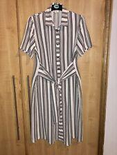 😉 Size 16 LINEA Shirt Dress Black & White Geometric Stripe with Front Tie Waist