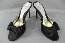 BNIB PURE BY DIANE HASSALL BLACK SILK HEELED LEATHER SHOES:SIZE UK 2.5/EURO 35.5