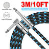 """3ft Right Angle to straight 1/4"""" plug guitar instrument patch cable cord,1PCS"""