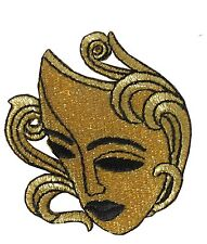 #2577 Gold Goddess Mask Embroidery Iron On Applique Patch