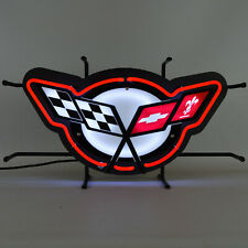 Corvette Flags Neon sign C5 wall lamp light Garage shop 2004 Z06 Ls6 Ls1 1997