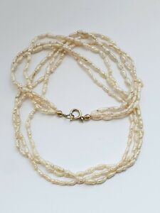 """Vintage 17"""" Freshwater Rice Pearl Triple Strand Necklace Sterling Silver Clasp"""