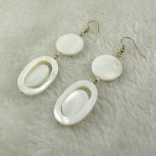 earrings Golden Pearl White Round Oval Ring Marriage Retro EE10