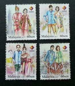 *FREE SHIP Malaysia Traditional Attire 4 Nation Expo 2015 Costumes (stamp) MNH