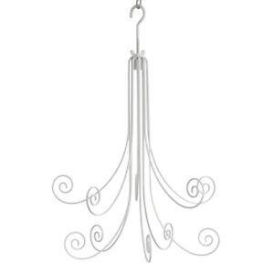 Hanging 10 Hook Metal Fountain Display Jewellery, Suncatchers, Baubles  - WHITE
