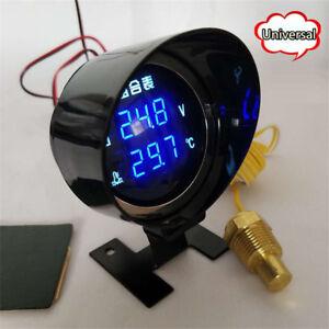 Universal Blue LED Digital Auto Car Water Temp Temperature Meter Voltmeter Gauge