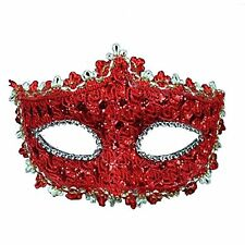 Geek-M Halloween Costume Lace with Rhinestone Venetian Mask Women Masquerade Red
