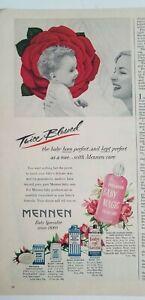 1952 Mennen baby magic Skin Care Powder oil Soap cream Baby face ad
