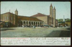 080821 OLD UNION STATION VINTAGE PROVIDENCE RI POSTCARD 1907