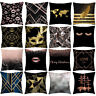 Rose Black Gold Pillow Case Cotton Linen Sofa Throw Cushion Cover Home Decor UK