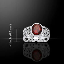 Courtney Davis Viking Borre Knot Ring Garnet .925 Sterling Silver Jewelry