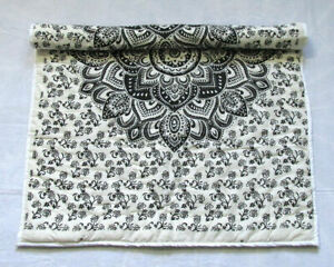 Black Floral Mandala Baby Quilt Handmade Reversible Coverlet With Cotton Filled